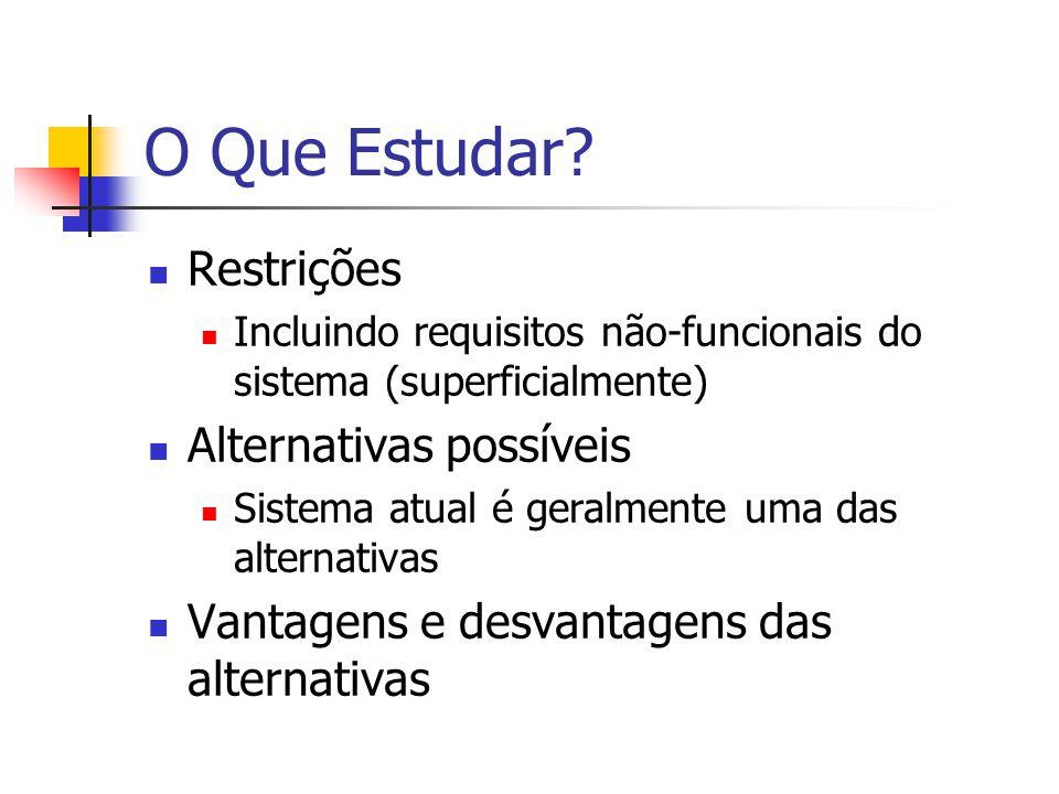 O Que Estudar? Restrições Incluindo requisitos não-funcionais do sistema (superficialmente) Alternativas possíveis Sistema atual é geralmente uma das