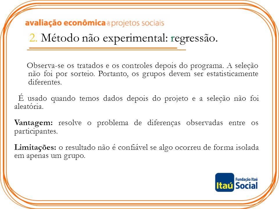 2. Método não experimental: regressão. Observa-se os tratados e os controles depois do programa. A seleção não foi por sorteio. Portanto, os grupos de