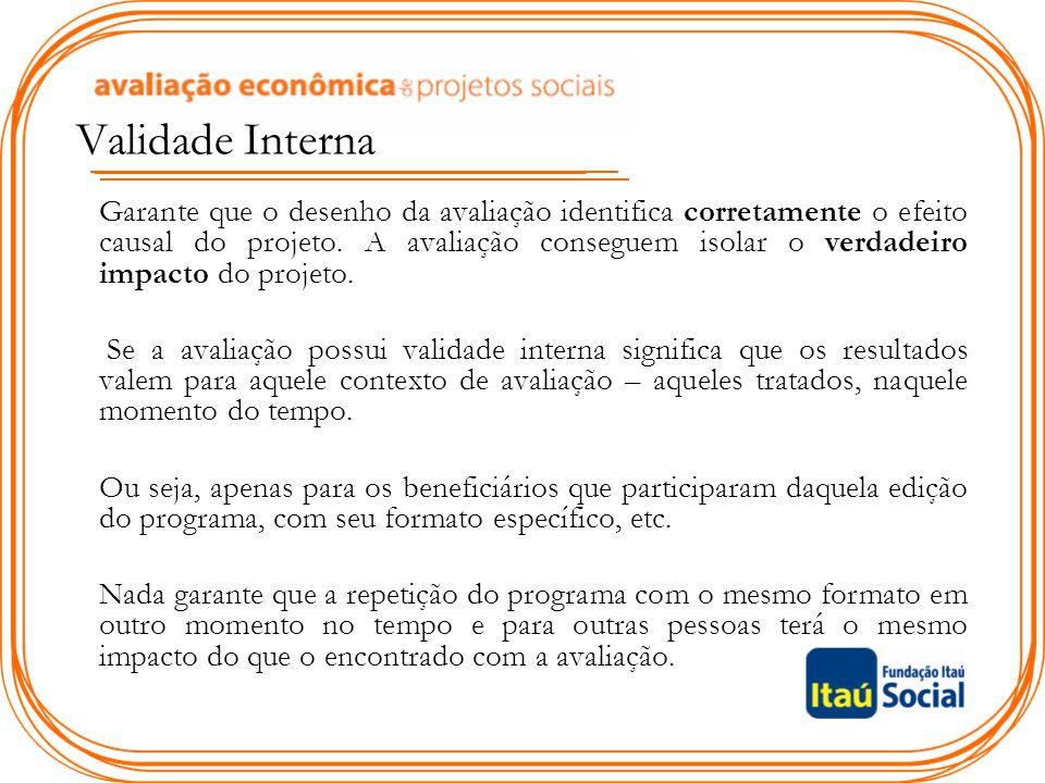 Validade Interna Garante que o desenho da avaliação identifica corretamente o efeito causal do projeto.