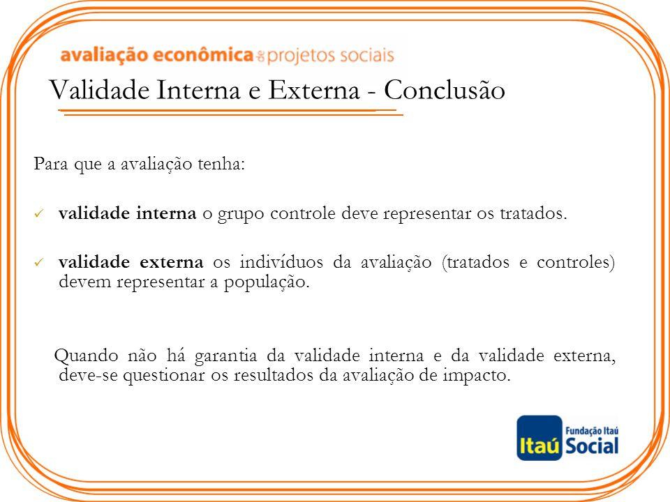 Validade Interna e Externa - Conclusão Para que a avaliação tenha: validade interna o grupo controle deve representar os tratados. validade externa os