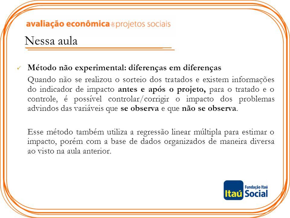 Método não experimental: diferenças em diferenças