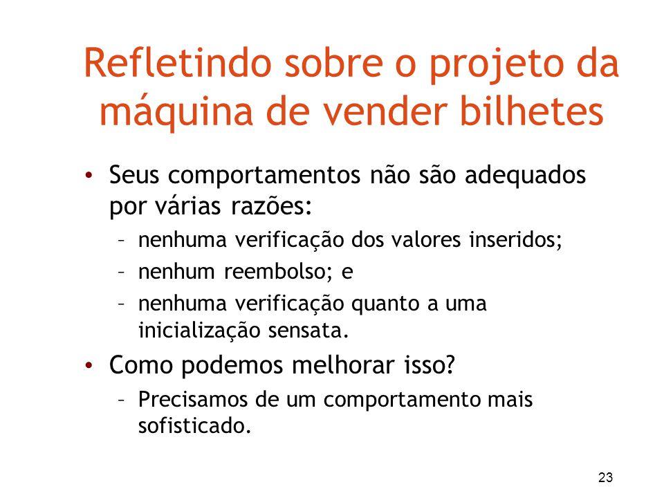 23 Refletindo sobre o projeto da máquina de vender bilhetes Seus comportamentos não são adequados por várias razões: –nenhuma verificação dos valores