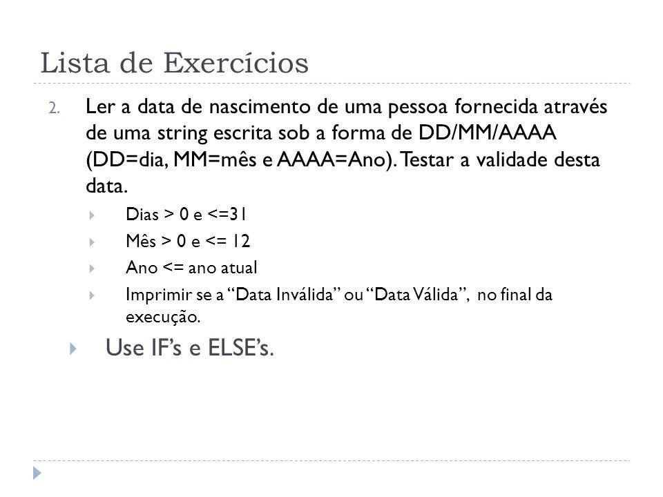 Lista de Exercícios 2.