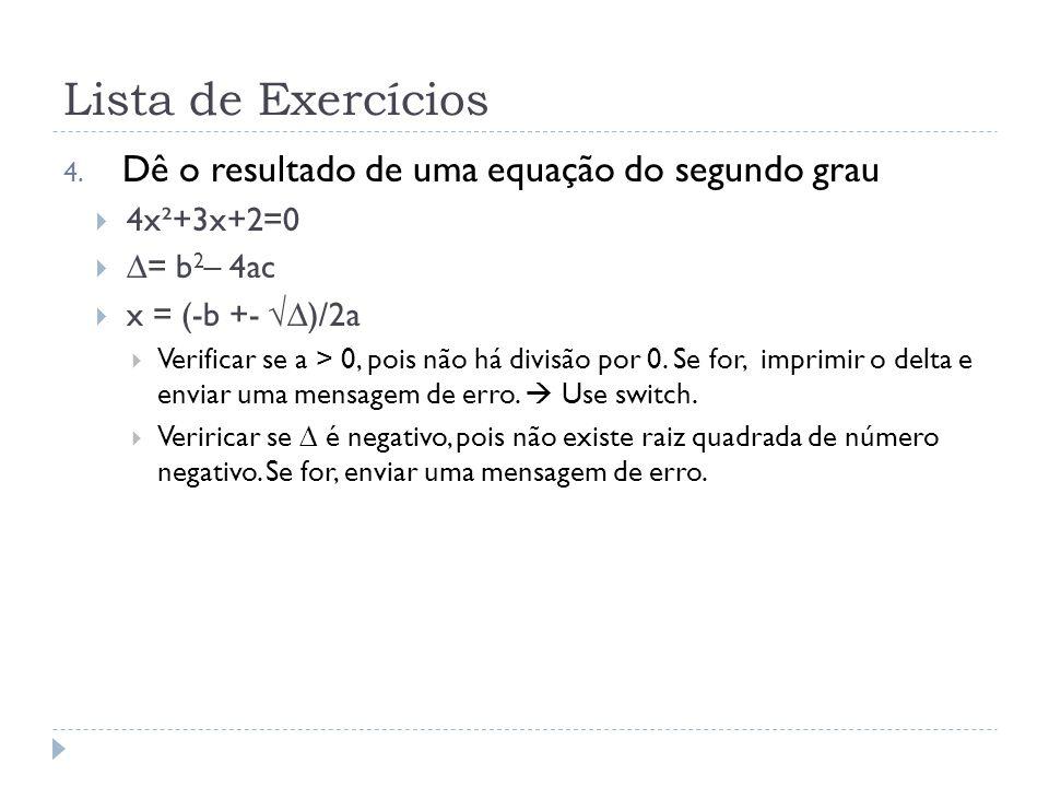 Lista de Exercícios 4.