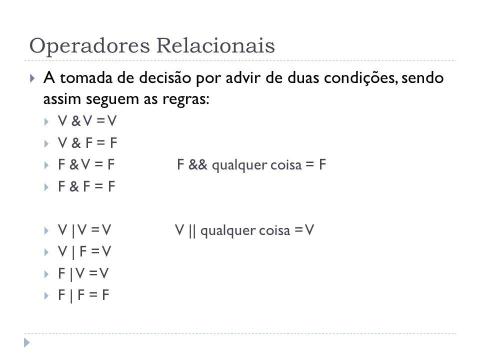 Operadores Relacionais  A tomada de decisão por advir de duas condições, sendo assim seguem as regras:  V & V = V  V & F = F  F & V = F F && qualquer coisa = F  F & F = F  V | V = V V || qualquer coisa = V  V | F = V  F | V = V  F | F = F