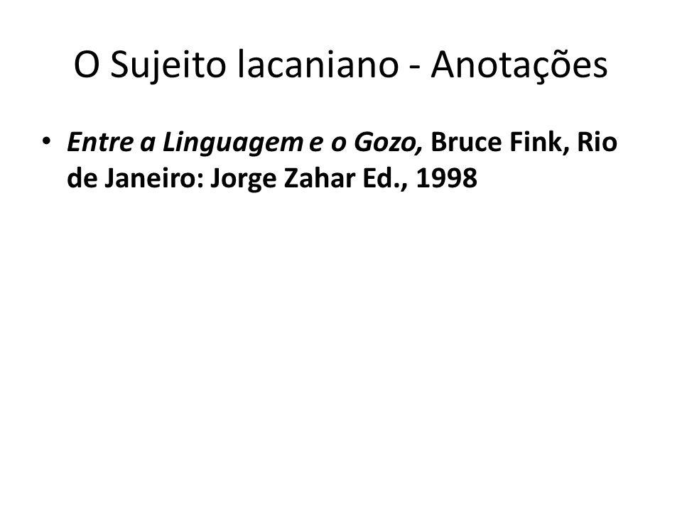 O Sujeito lacaniano - Anotações Entre a Linguagem e o Gozo, Bruce Fink, Rio de Janeiro: Jorge Zahar Ed., 1998