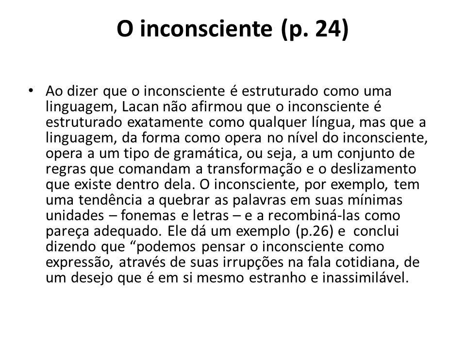 O inconsciente (p. 24) Ao dizer que o inconsciente é estruturado como uma linguagem, Lacan não afirmou que o inconsciente é estruturado exatamente com