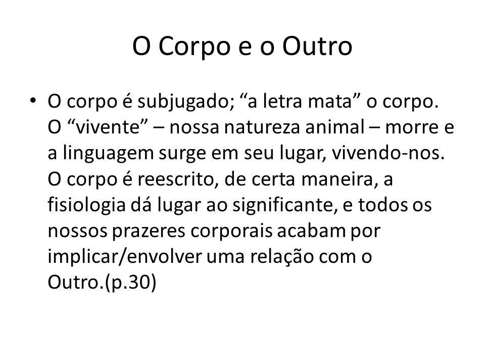 """O Corpo e o Outro O corpo é subjugado; """"a letra mata"""" o corpo. O """"vivente"""" – nossa natureza animal – morre e a linguagem surge em seu lugar, vivendo-n"""