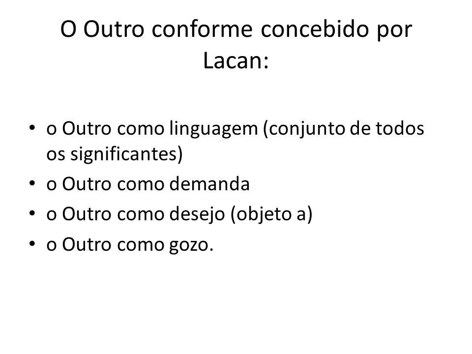 O Outro conforme concebido por Lacan: o Outro como linguagem (conjunto de todos os significantes) o Outro como demanda o Outro como desejo (objeto a) o Outro como gozo.