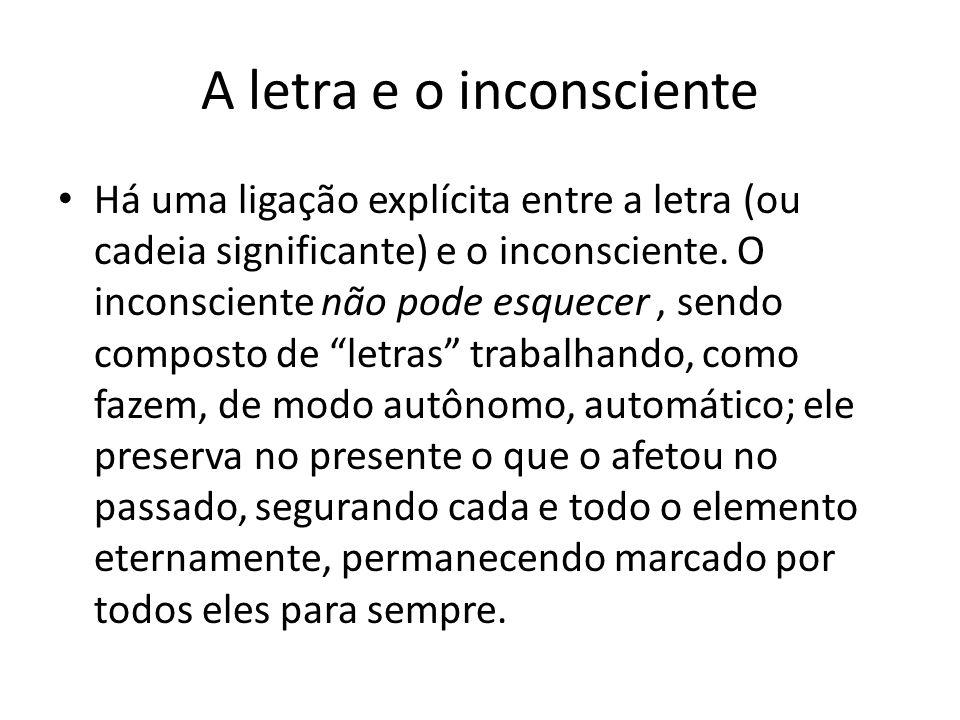 A letra e o inconsciente Há uma ligação explícita entre a letra (ou cadeia significante) e o inconsciente. O inconsciente não pode esquecer, sendo com