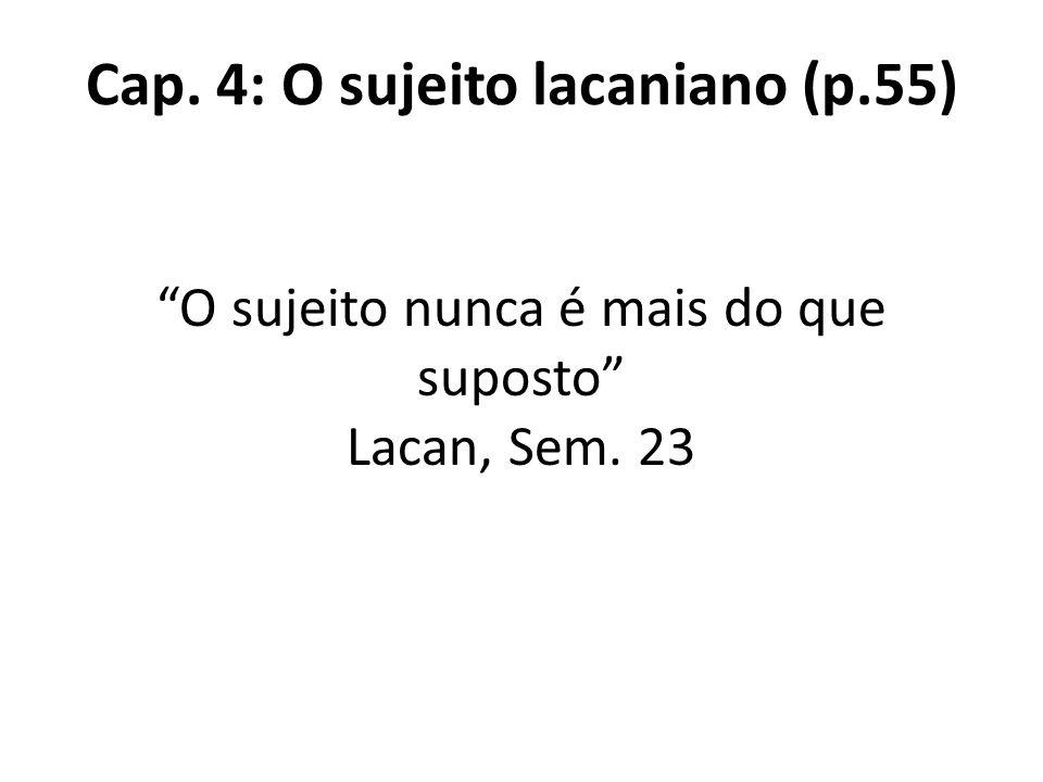 Cap. 4: O sujeito lacaniano (p.55) O sujeito nunca é mais do que suposto Lacan, Sem. 23
