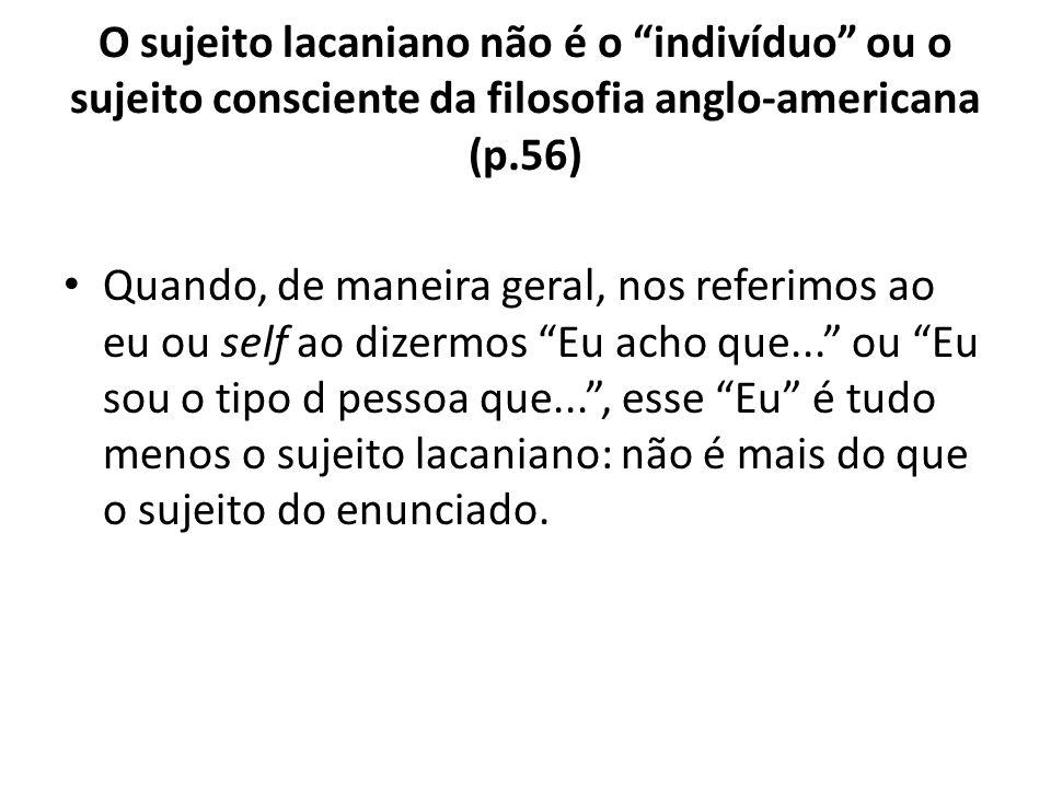 """O sujeito lacaniano não é o """"indivíduo"""" ou o sujeito consciente da filosofia anglo-americana (p.56) Quando, de maneira geral, nos referimos ao eu ou s"""