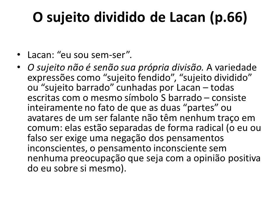 """O sujeito dividido de Lacan (p.66) Lacan: """"eu sou sem-ser"""". O sujeito não é senão sua própria divisão. A variedade expressões como """"sujeito fendido"""","""