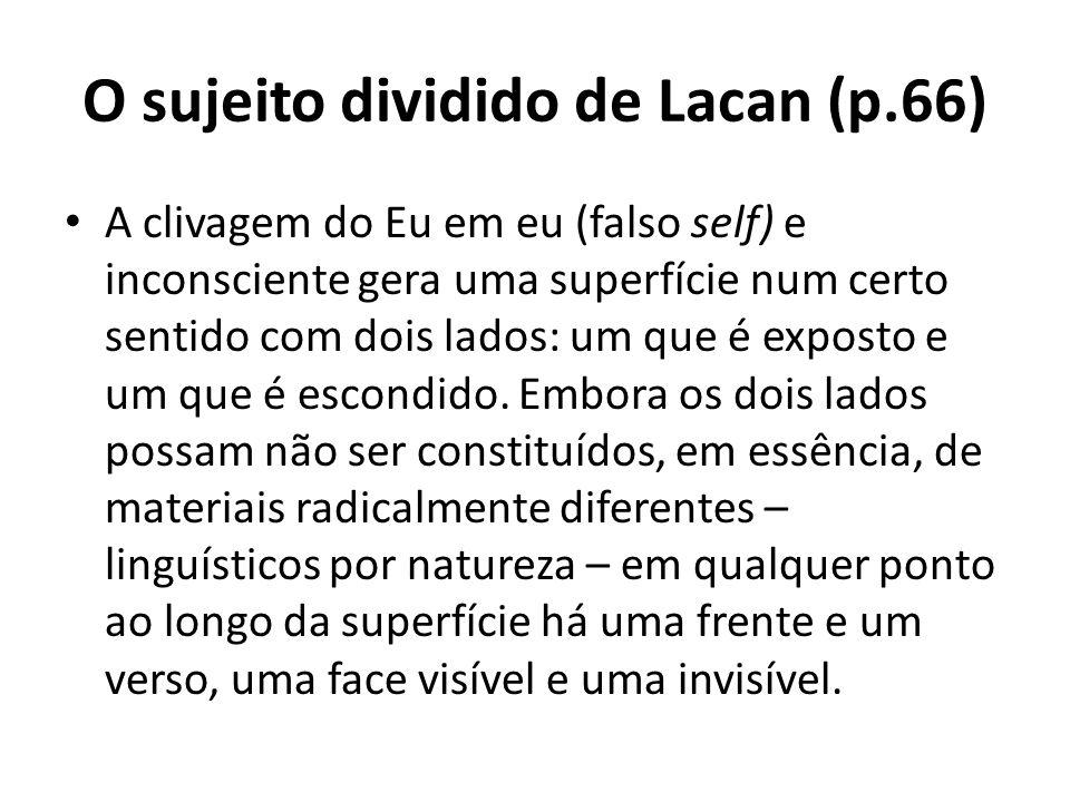 O sujeito dividido de Lacan (p.66) A clivagem do Eu em eu (falso self) e inconsciente gera uma superfície num certo sentido com dois lados: um que é exposto e um que é escondido.