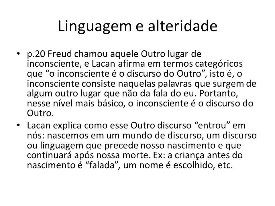 """Linguagem e alteridade p.20 Freud chamou aquele Outro lugar de inconsciente, e Lacan afirma em termos categóricos que """"o inconsciente é o discurso do"""