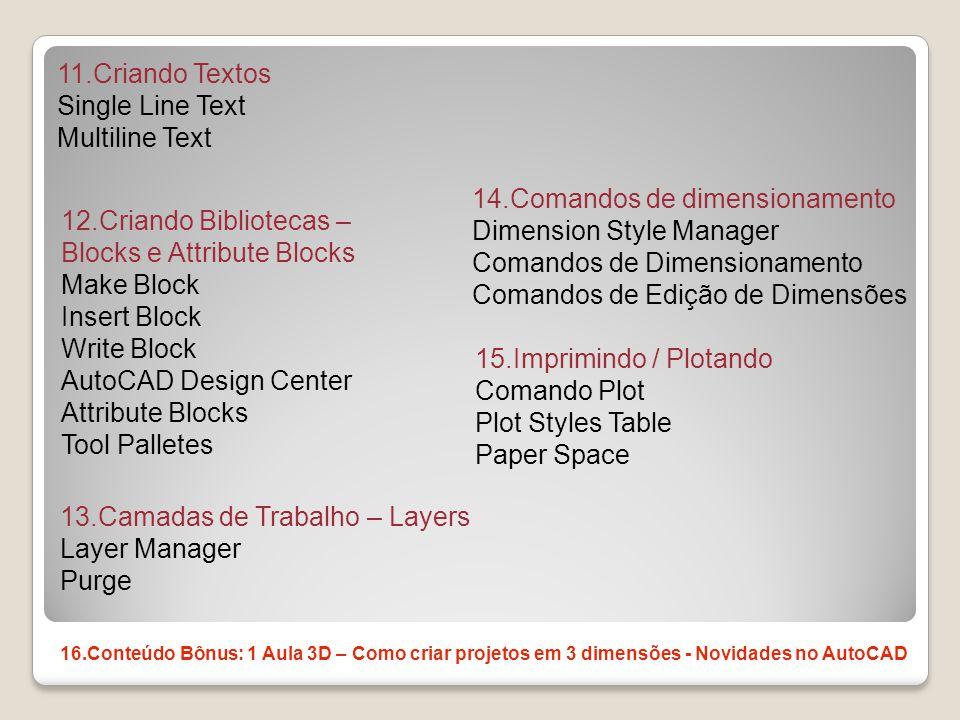 11.Criando Textos Single Line Text Multiline Text 12.Criando Bibliotecas – Blocks e Attribute Blocks Make Block Insert Block Write Block AutoCAD Desig