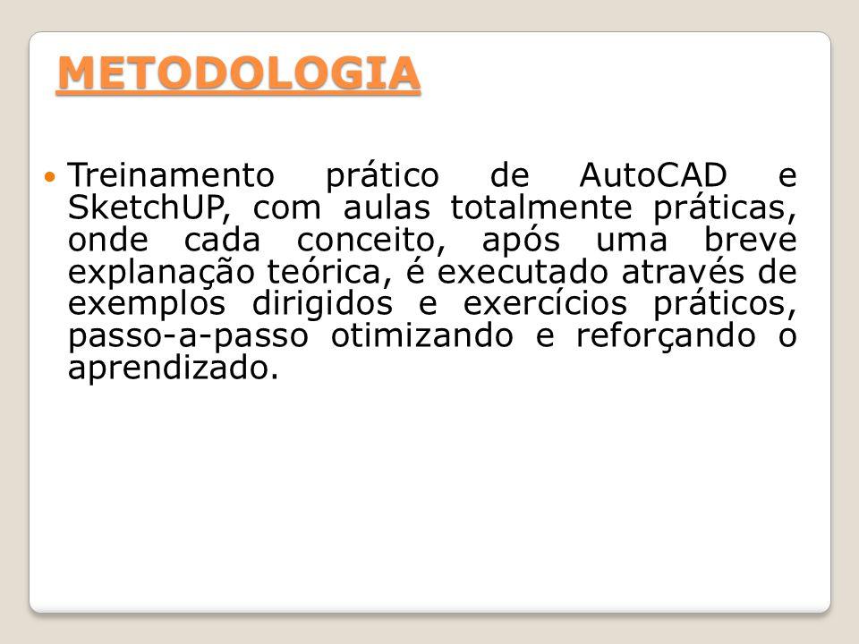 METODOLOGIA Treinamento prático de AutoCAD e SketchUP, com aulas totalmente práticas, onde cada conceito, após uma breve explanação teórica, é executa