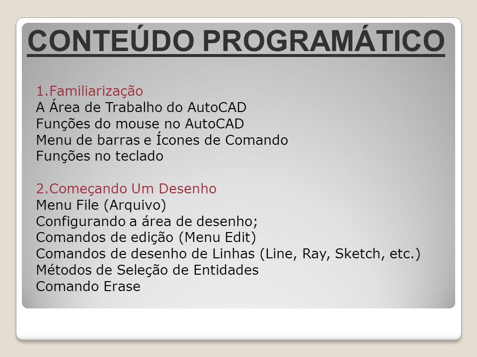1.Familiarização A Área de Trabalho do AutoCAD Funções do mouse no AutoCAD Menu de barras e Ícones de Comando Funções no teclado 2.Começando Um Desenh