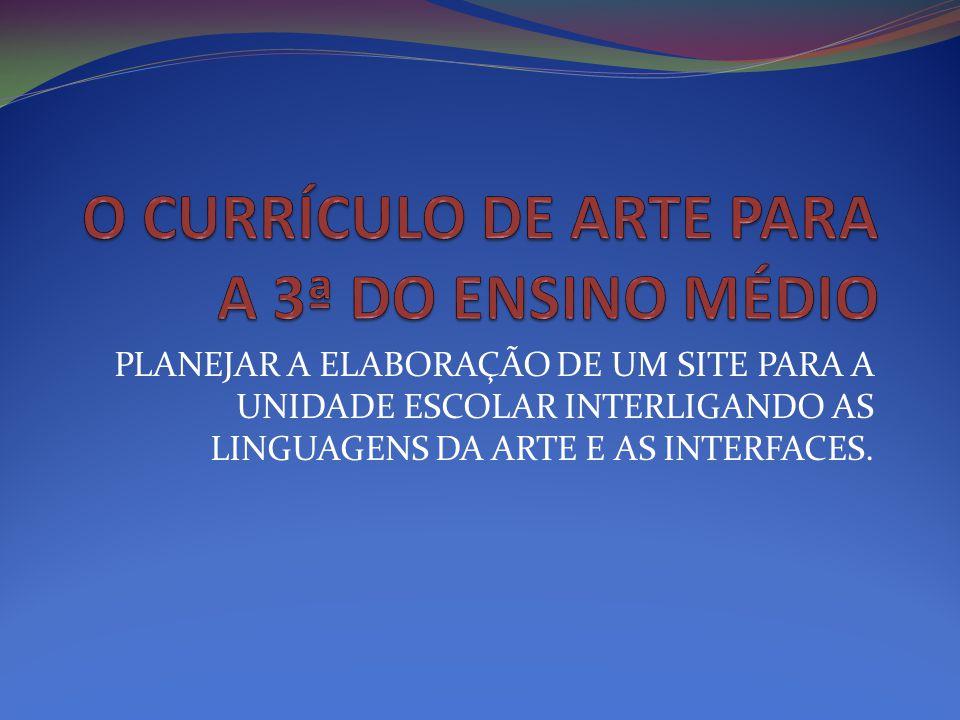 PLANEJAR A ELABORAÇÃO DE UM SITE PARA A UNIDADE ESCOLAR INTERLIGANDO AS LINGUAGENS DA ARTE E AS INTERFACES.