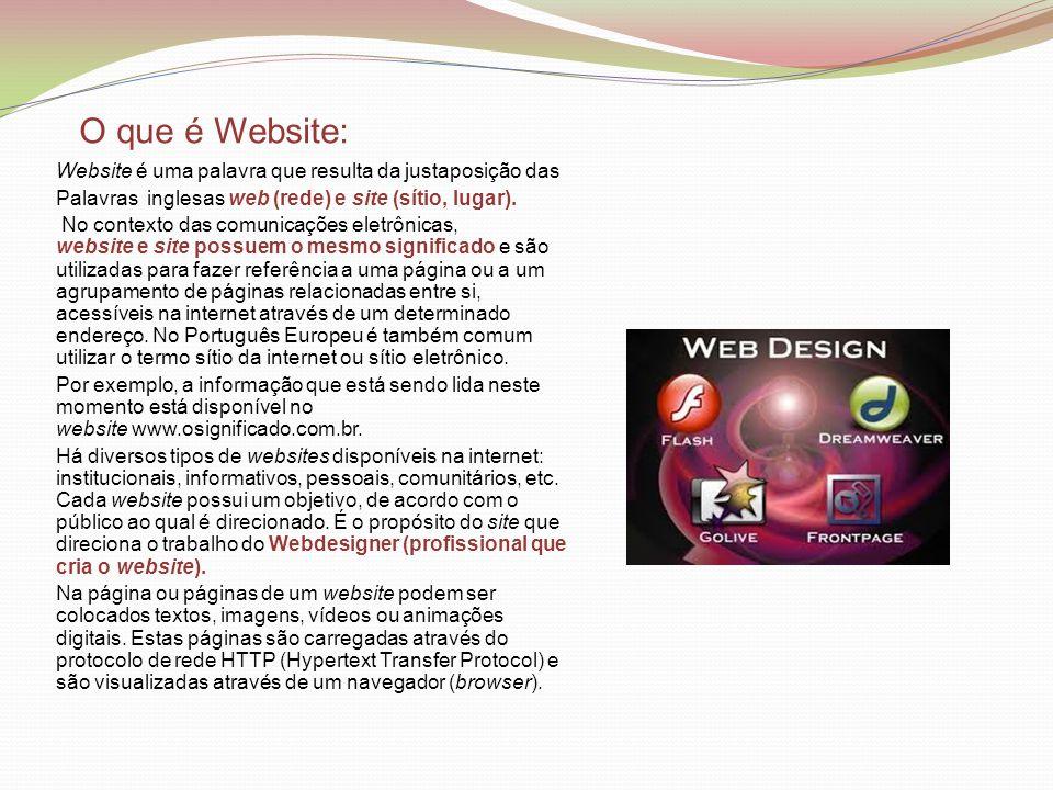 O que é Website: Website é uma palavra que resulta da justaposição das Palavras inglesas web (rede) e site (sítio, lugar). No contexto das comunicaçõe