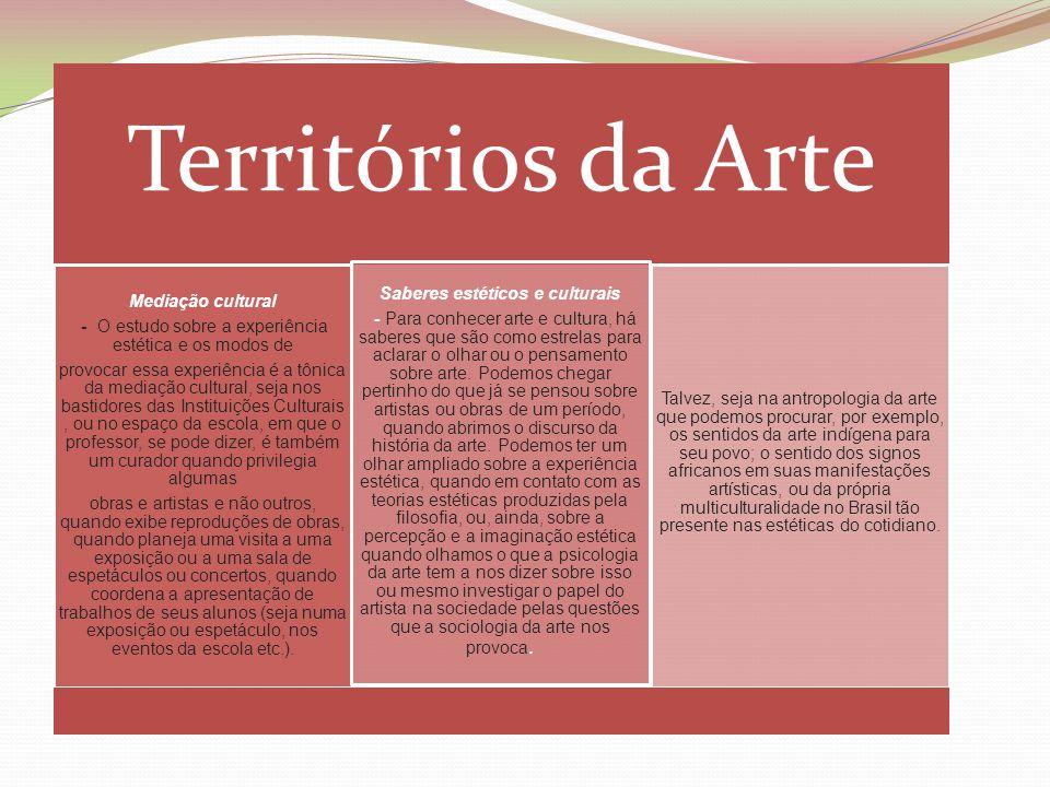 Territórios da Arte Mediação cultural - O estudo sobre a experiência estética e os modos de provocar essa experiência é a tônica da mediação cultural,