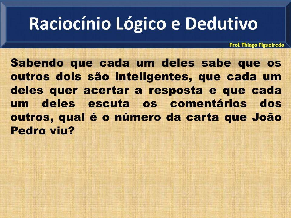 Prof. Thiago Figueiredo Sabendo que cada um deles sabe que os outros dois são inteligentes, que cada um deles quer acertar a resposta e que cada um de