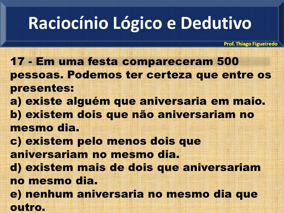 Prof. Thiago Figueiredo 17 - Em uma festa compareceram 500 pessoas. Podemos ter certeza que entre os presentes: a) existe alguém que aniversaria em ma