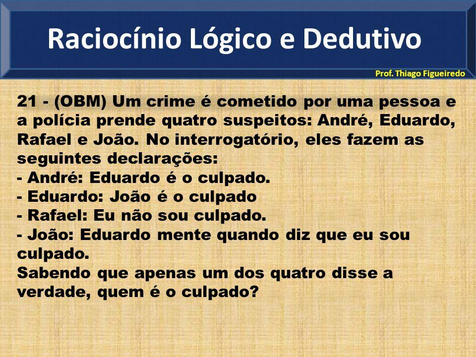 Prof. Thiago Figueiredo 21 - (OBM) Um crime é cometido por uma pessoa e a polícia prende quatro suspeitos: André, Eduardo, Rafael e João. No interroga