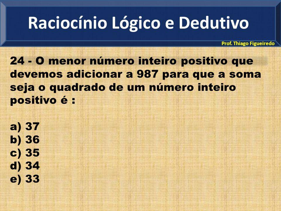 Prof. Thiago Figueiredo 24 - O menor número inteiro positivo que devemos adicionar a 987 para que a soma seja o quadrado de um número inteiro positivo