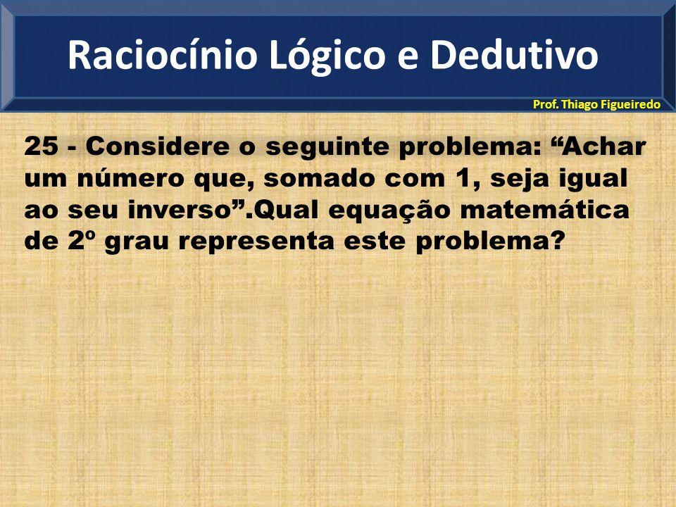 """Prof. Thiago Figueiredo 25 - Considere o seguinte problema: """"Achar um número que, somado com 1, seja igual ao seu inverso"""".Qual equação matemática de"""