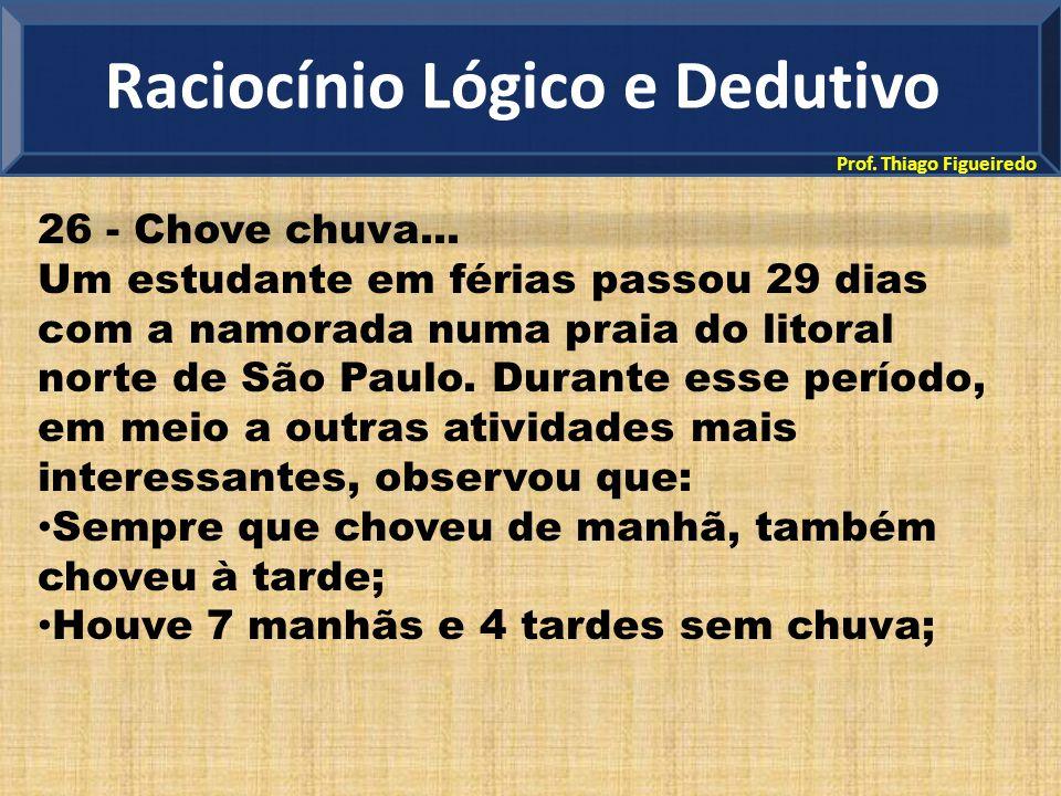 Prof. Thiago Figueiredo 26 - Chove chuva... Um estudante em férias passou 29 dias com a namorada numa praia do litoral norte de São Paulo. Durante ess