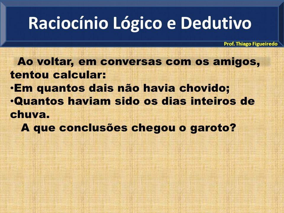 Prof. Thiago Figueiredo Ao voltar, em conversas com os amigos, tentou calcular: Em quantos dais não havia chovido; Quantos haviam sido os dias inteiro