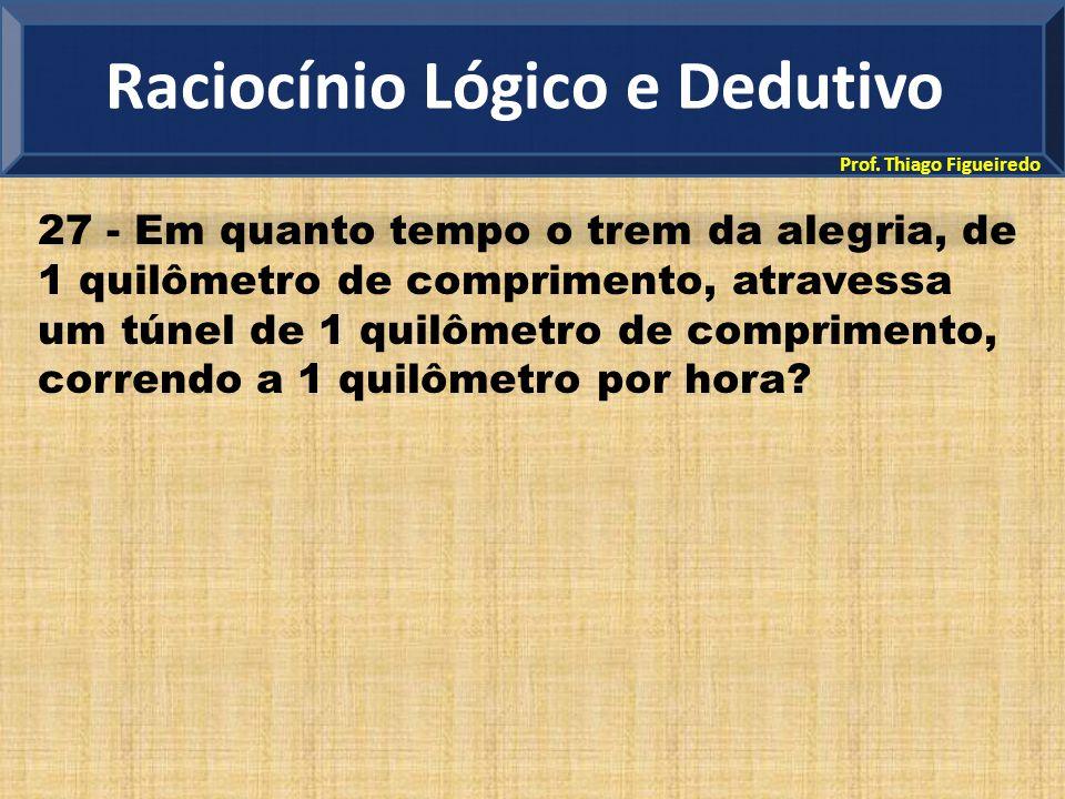 Prof. Thiago Figueiredo 27 - Em quanto tempo o trem da alegria, de 1 quilômetro de comprimento, atravessa um túnel de 1 quilômetro de comprimento, cor
