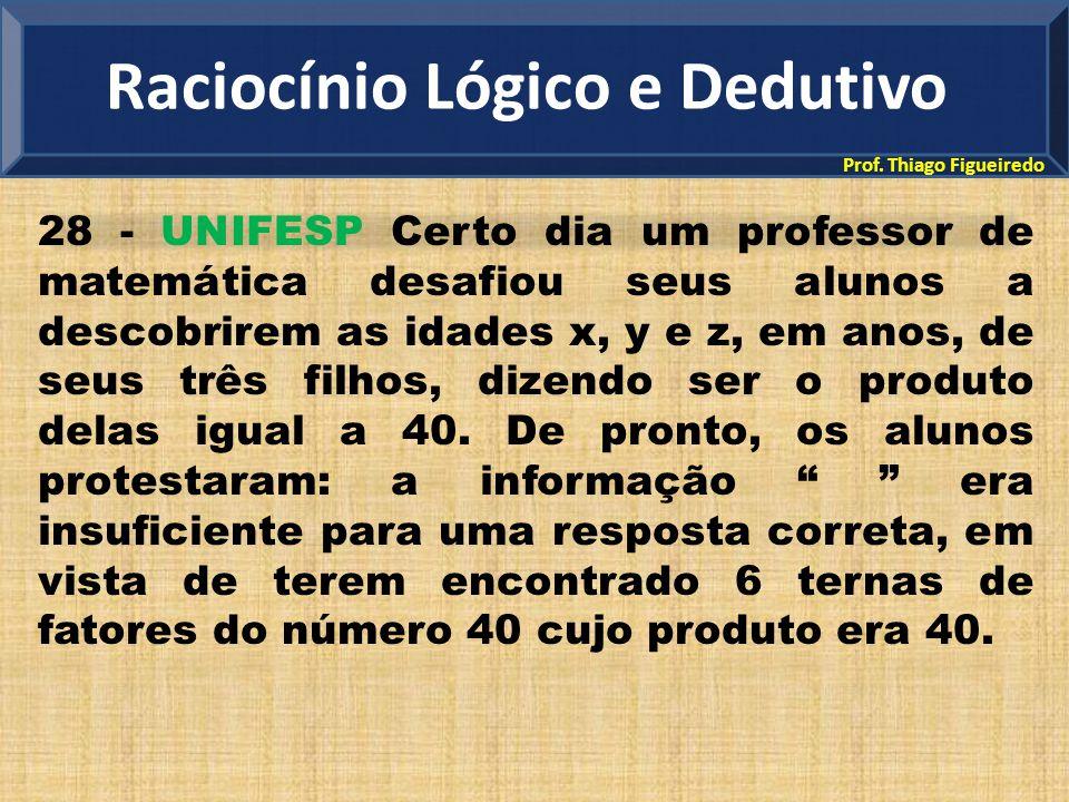 Prof. Thiago Figueiredo 28 - UNIFESP Certo dia um professor de matemática desafiou seus alunos a descobrirem as idades x, y e z, em anos, de seus três