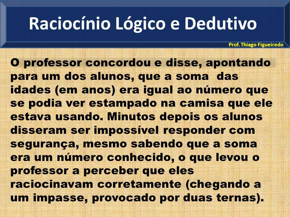 Prof. Thiago Figueiredo O professor concordou e disse, apontando para um dos alunos, que a soma das idades (em anos) era igual ao número que se podia
