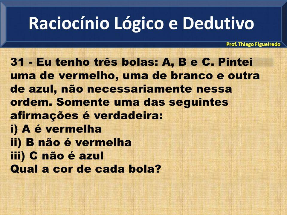 Prof. Thiago Figueiredo 31 - Eu tenho três bolas: A, B e C. Pintei uma de vermelho, uma de branco e outra de azul, não necessariamente nessa ordem. So