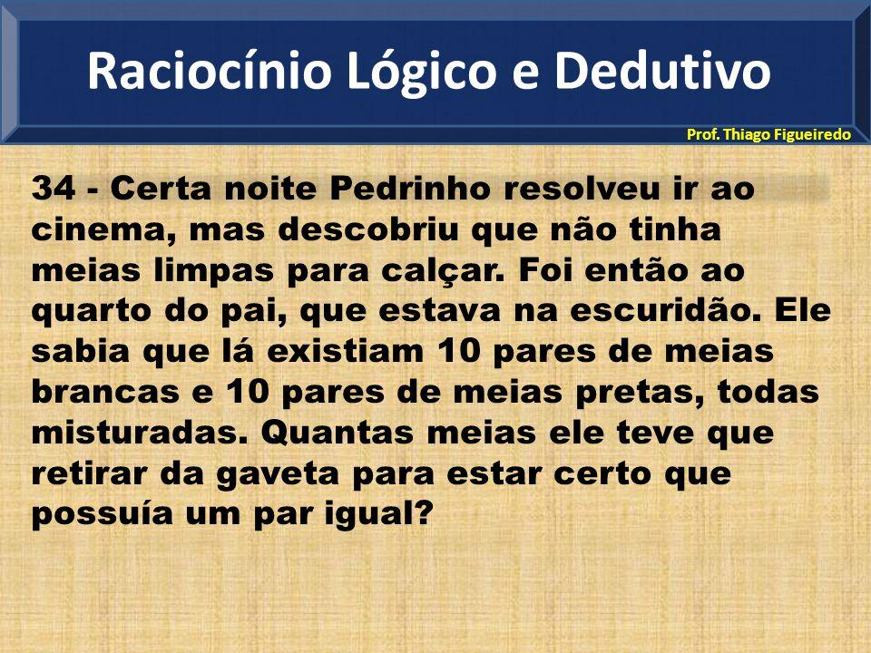 Prof. Thiago Figueiredo 34 - Certa noite Pedrinho resolveu ir ao cinema, mas descobriu que não tinha meias limpas para calçar. Foi então ao quarto do