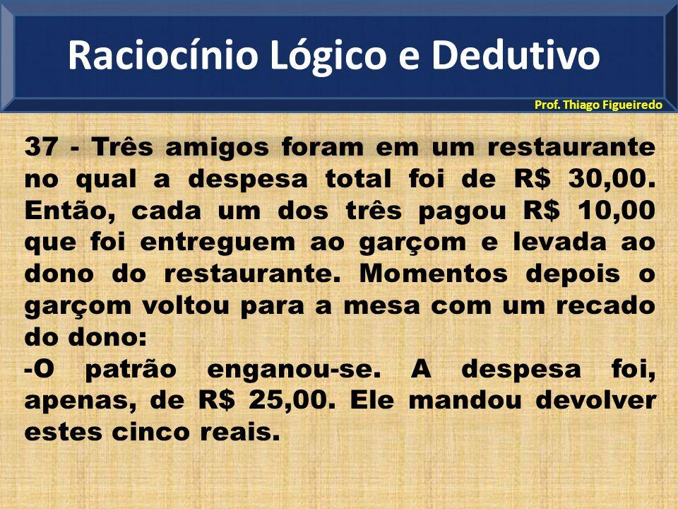 Prof. Thiago Figueiredo 37 - Três amigos foram em um restaurante no qual a despesa total foi de R$ 30,00. Então, cada um dos três pagou R$ 10,00 que f