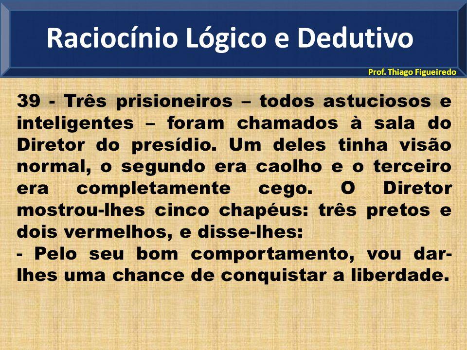 Prof. Thiago Figueiredo 39 - Três prisioneiros – todos astuciosos e inteligentes – foram chamados à sala do Diretor do presídio. Um deles tinha visão