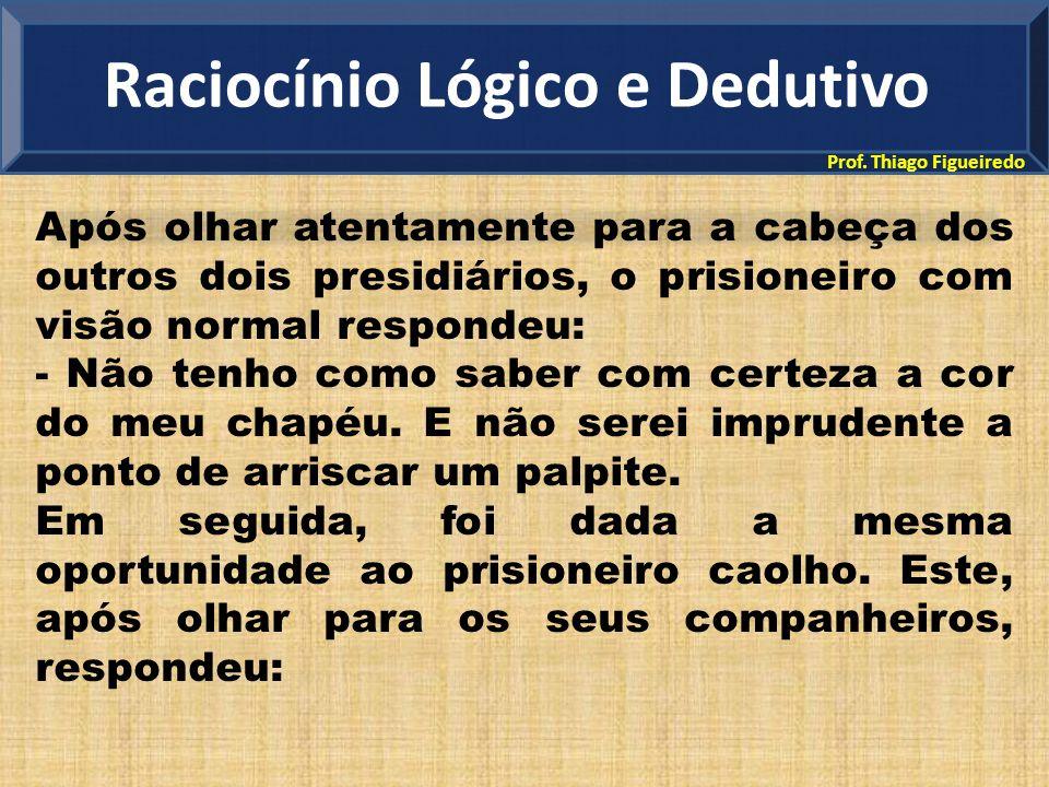 Prof. Thiago Figueiredo Após olhar atentamente para a cabeça dos outros dois presidiários, o prisioneiro com visão normal respondeu: - Não tenho como