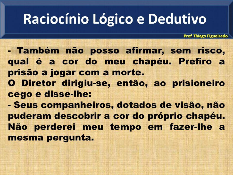Prof. Thiago Figueiredo - Também não posso afirmar, sem risco, qual é a cor do meu chapéu. Prefiro a prisão a jogar com a morte. O Diretor dirigiu-se,