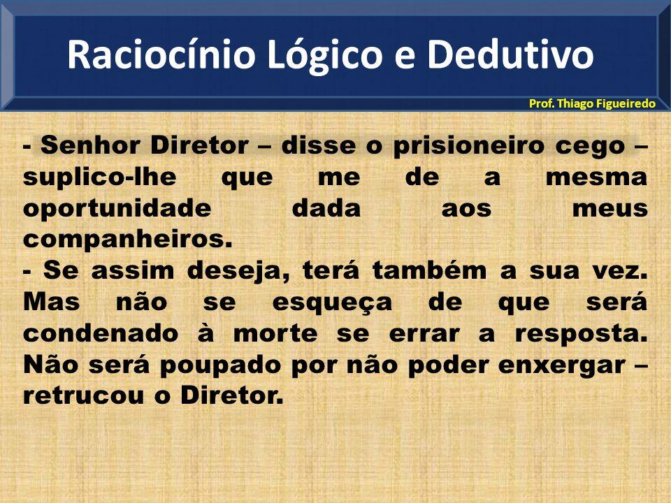 Prof. Thiago Figueiredo - Senhor Diretor – disse o prisioneiro cego – suplico-lhe que me de a mesma oportunidade dada aos meus companheiros. - Se assi