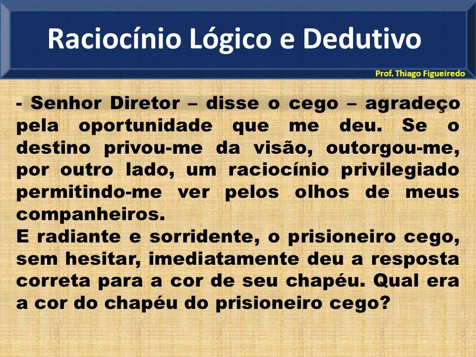 Prof. Thiago Figueiredo - Senhor Diretor – disse o cego – agradeço pela oportunidade que me deu. Se o destino privou-me da visão, outorgou-me, por out