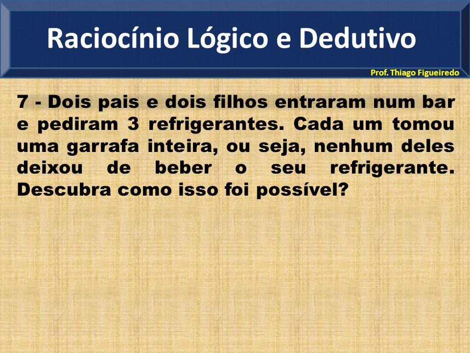 Prof. Thiago Figueiredo 7 - Dois pais e dois filhos entraram num bar e pediram 3 refrigerantes. Cada um tomou uma garrafa inteira, ou seja, nenhum del
