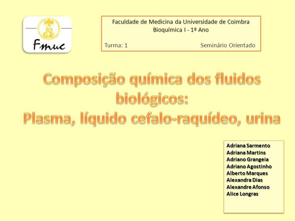 Faculdade de Medicina da Universidade de Coimbra Bioquímica I - 1º Ano Turma: 1 Seminário Orientado Adriana Sarmento Adriana Martins Adriano Grangeia