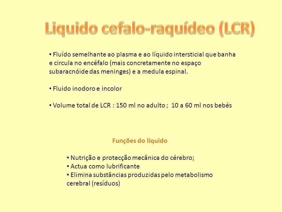 Fluído semelhante ao plasma e ao líquido intersticial que banha e circula no encéfalo (mais concretamente no espaço subaracnóide das meninges) e a med