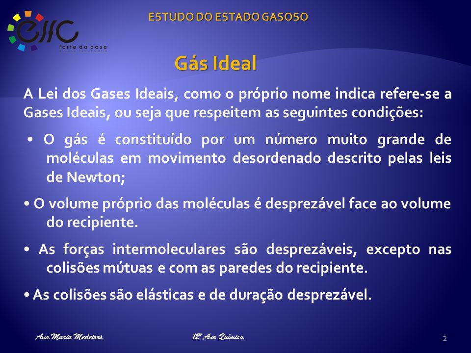 ESTUDO DO ESTADO GASOSO Ana Maria Medeiros Conclusão: A volume constante, a pressão varia proporcionalmente com a temperatura.