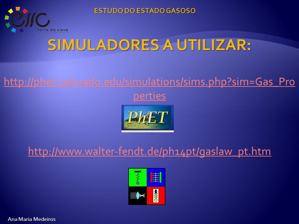 SIMULADORES A UTILIZAR: http://phet.colorado.edu/simulations/sims.php sim=Gas_Pro perties http://www.walter-fendt.de/ph14pt/gaslaw_pt.htm ESTUDO DO ESTADO GASOSO Ana Maria Medeiros