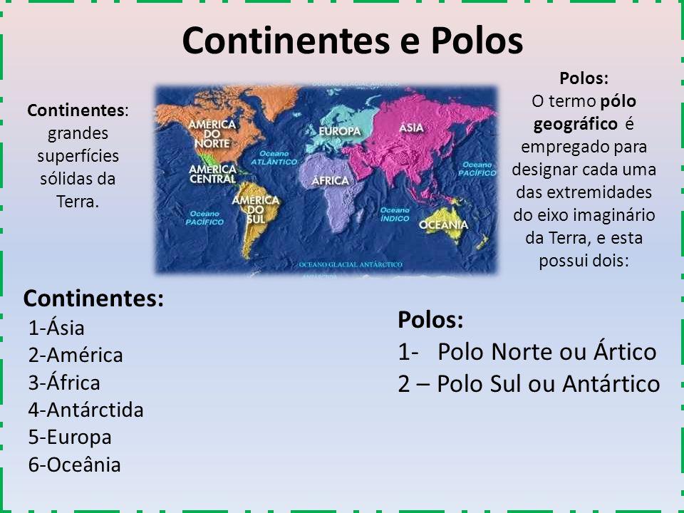 Continentes e Polos Continentes: 1-Ásia 2-América 3-África 4-Antárctida 5-Europa 6-Oceânia Polos: 1- Polo Norte ou Ártico 2 – Polo Sul ou Antártico Co