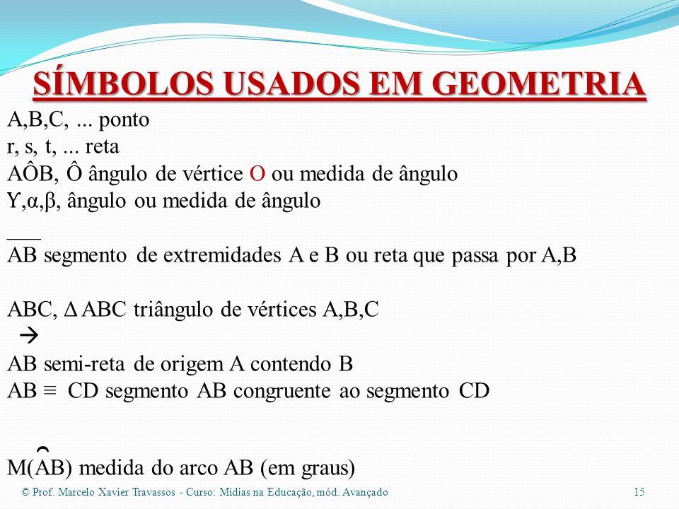© Prof. Marcelo Xavier Travassos - Curso: Mídias na Educação, mód. Avançado 14 3.-Dois segmentos são congruentes se eles têm a mesma medida. 4.-Dois â